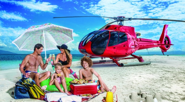 Cairns Helicopter Flights - Enjoy a family picnic on a remote sand cay on the Great Barrier Reef in Australia