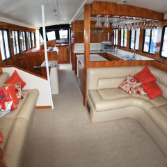 Enjoy luxury saloon interiors | Comfortable guest lounge | Port Douglas Private Charter Boat