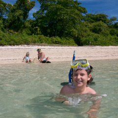 Families having fun on Green Island on the Great Barrier Reef