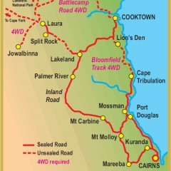 Our map of Cairns to Cooktown tour in Tropical Far North Queensland