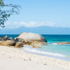 Fitzroy Island has beautiful granite boulders framing the ocean