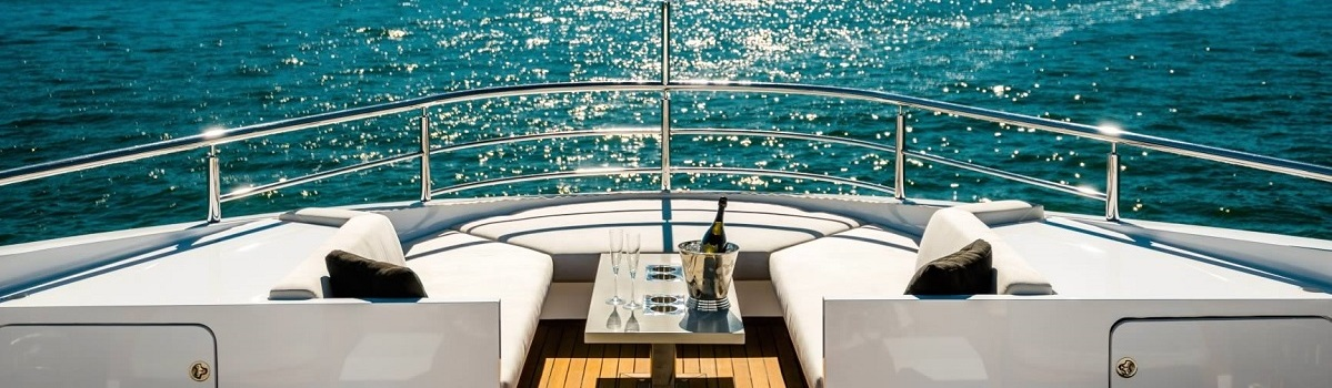 Forward deck of Superyacht on the Great Barrier Reef