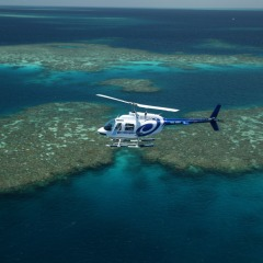 GBR Helicopter flying on a Great Barrier Reef tour