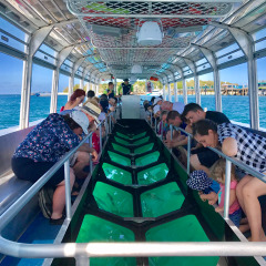 Glass bottom boat tour on Green Island on the Great Barrier Reef