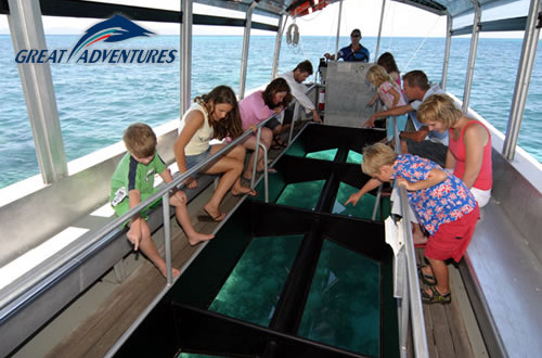 Glass bottom boat tour Green Island Queensland Australia