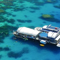 Aerial view of our Great Barrier Reef Cruises Cairns pontoon
