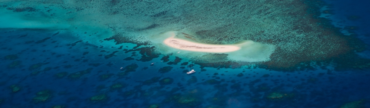 Great Barrier Reef Scenic Flights - Aerial view of remote sand cay