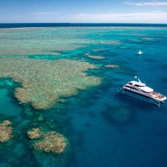 Great Barrier Reef Tours Cairns - Aerial View of Luxury Boat on the Reef