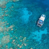 Great Barrier Reef Tours from Cairns - Aerial View of Boat