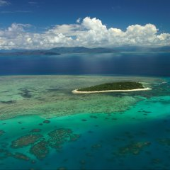 Green Island Cairns from the air in a helicopter scenic flight