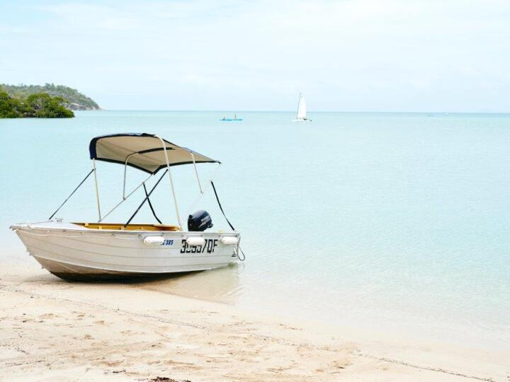 Guest facilities include motorised dinghies to explore the island's beaches and coves