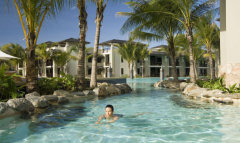 Guests can swim around the Sea Temple Resorts lagoon pool