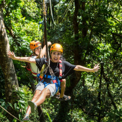 Happy Kids Ziplining in the Forest - Daintree Cape Tribulation Ziplining Tour