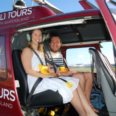 Happy Passengers Ready for Take Off - Sand Cay Heli Tour