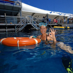 Happy Snorkeller at the Outer Reef - Combo Tour