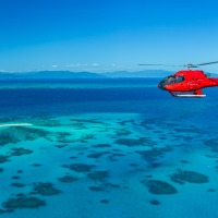 Helicopter Cruising Above the Reef