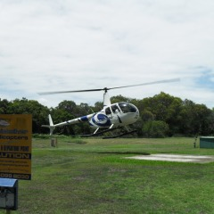 Helicopter departure in Port Douglas