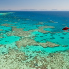 Helicopter Flying Above Great Barrier Reef Cairns
