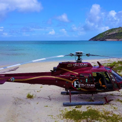 Helicopter on Lizard Island Beach - Lizard Island Private Charter Helicopter Flight