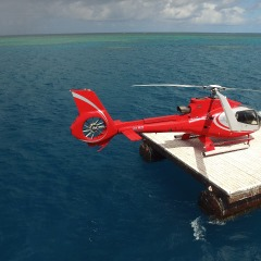 Helicopter on Reef Platform Great Barrier Reef Heli Landing