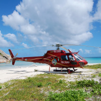 Helicopter Parked at Lizard Island - Private Helicopter Tour