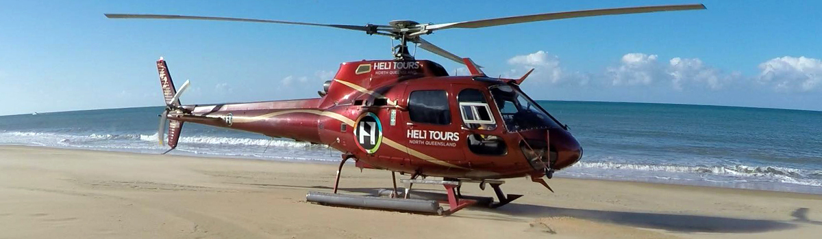 Helicopter Tours | Landing on a sand cay on the Great Barrier Reef