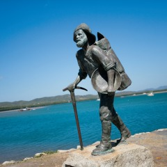Jmaes Venture Statue In Cooktown On Private Charter tour