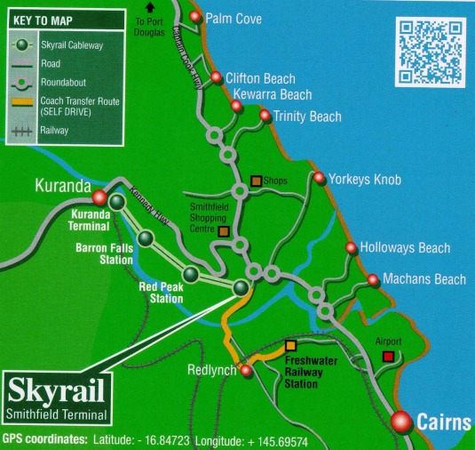 Kuranda Day Trip Location Map
