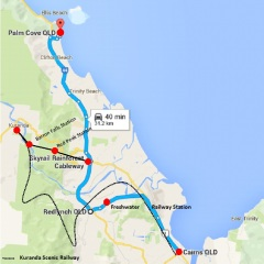 Kuranda Day Trip Map | Skyrail Rainforest Cableway & Kuranda Scenic Rail