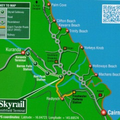 Kuranda Day Trip Map | Skyrail Rainforest Cableway & Kuranda Train and Scenic Rail