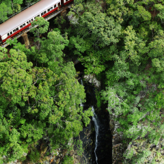 Aerial view of the Kuranda Train going over a waterfalls