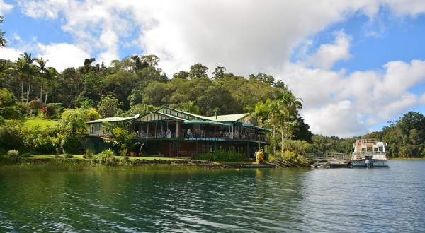 Lake Barrine Tea House on the bank of the Volcano Crater