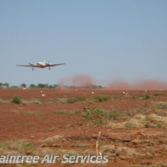landing on dusty air strip in Cape York