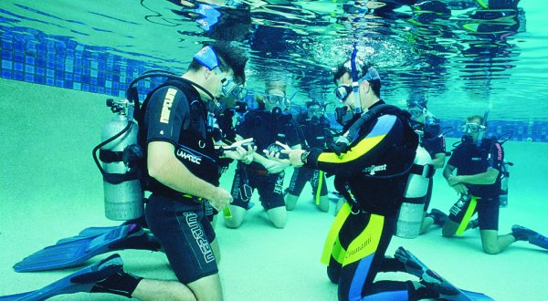 Learn to scuba dive in a swimming pool in Cairns Queensland Australia