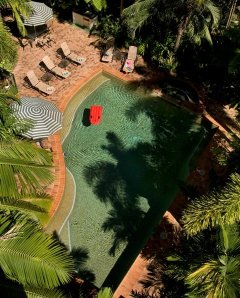Looking down to the pool area