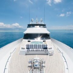 Looking from bow to stern on the Superyacht