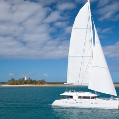 Luxury private charter sailing boat on the Great Barrier Reef in Australia