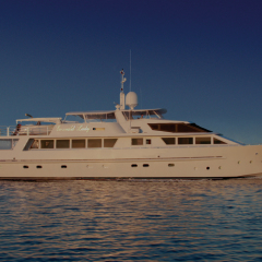 Luxury Superyacht at anchor on the Great Barrier Reef off Cairns