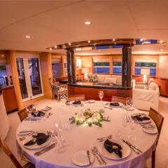 Luxury Yacht Charter | Inside Dining Room