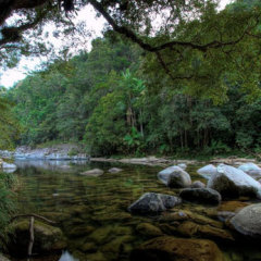 Mossman Gorge river and granite rocks