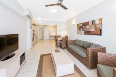 Apartment style accommodation with open plan dining and living area flowing out to balcony/patio - Silkari Lagoons Port Douglas Apartments