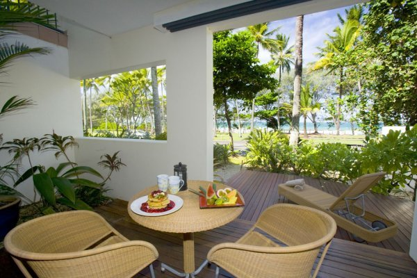 Ocean View Suite Balcony with Beachfront Views - Honeymoon perfect Boutique Resort Port Douglas