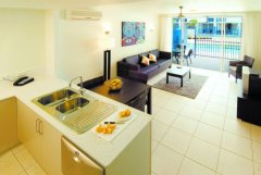 Apartment Kitchen and Living Areas opening out to Patio | Port Douglas Holiday Apartments