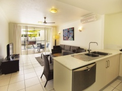 Apartment Kitchen and Living Areas opening out to Patio | Port Douglas Apartments