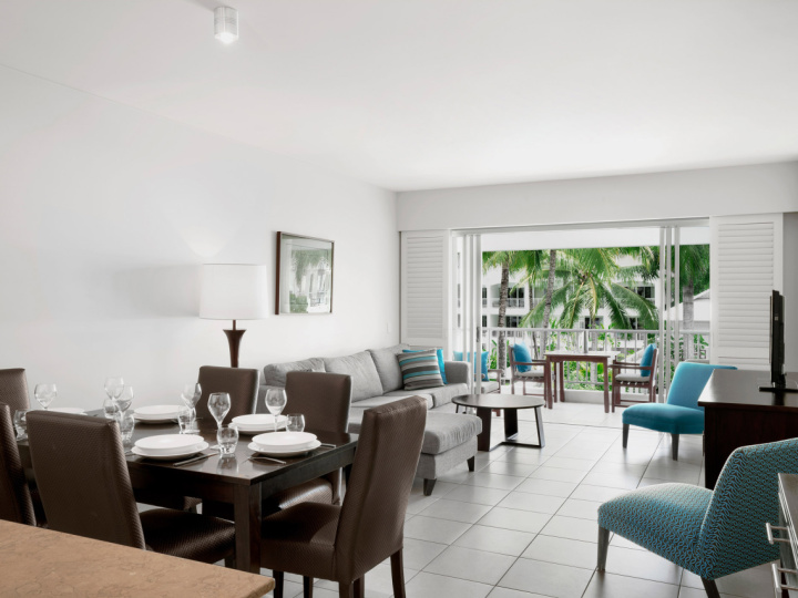 Open plan living and dining in the holiday apartments at Peppers Beach Club Resort & Spa