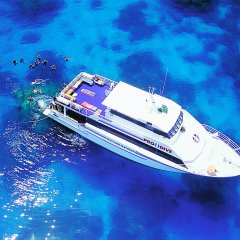 Our liveaboard dive boat from above on the Great Barrier Reef in Australia