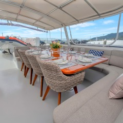 Outdoor dining on the top deck of your luxury superyacht
