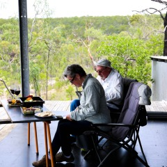 Enjoy a gourmet picnic lunch on your Aboriginal Rock Art helicopter tour from Cairns