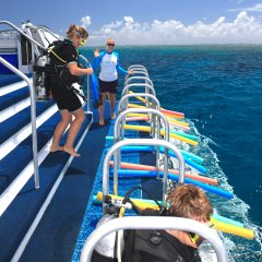 Great Barrier Reef Tour | Platform lowers down into the water to allow guests easy access for diving & snorkelling