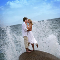 Port Douglas Wedding Couple Kissing on the Beach